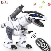 RC Intelligent Dinosaur Electronic Pets Walking Robot Toy Roaring Swinging Flashing Lighting Electric Action Figures Toy For Kid