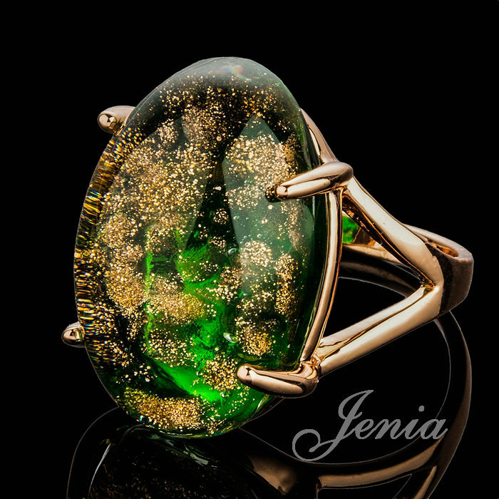 JENIA High Quality Four Claws Green Stone Ring Unisex Rose Gold Color Natural Ring Jewelry XR221