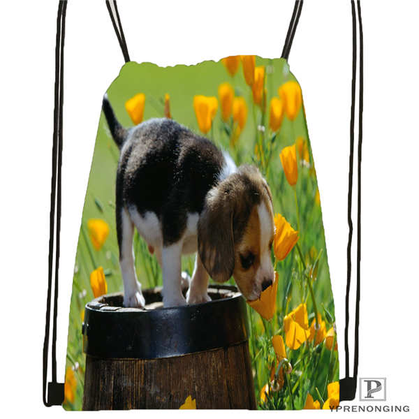 Custom Dog-with-flower-romantic-rose@01- Drawstring Backpack Bag Cute Daypack Kids Satchel (Black Back) 31x40cm#180611-03-105