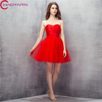 Prom Jurk Actural Strapless Tulle Rode Meisje Korte Eenvoudige Kopen Direct Uit China Avond Jurken