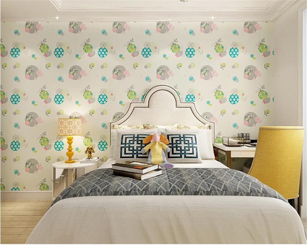 bedroom cozy korean background modern beibehang bedside nonwoven lovely fresh children 3d female