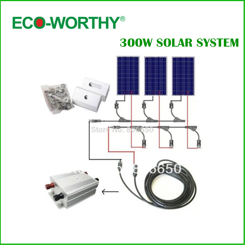 Complete Kit 300w Solar Panel Cells Off Grid System Home