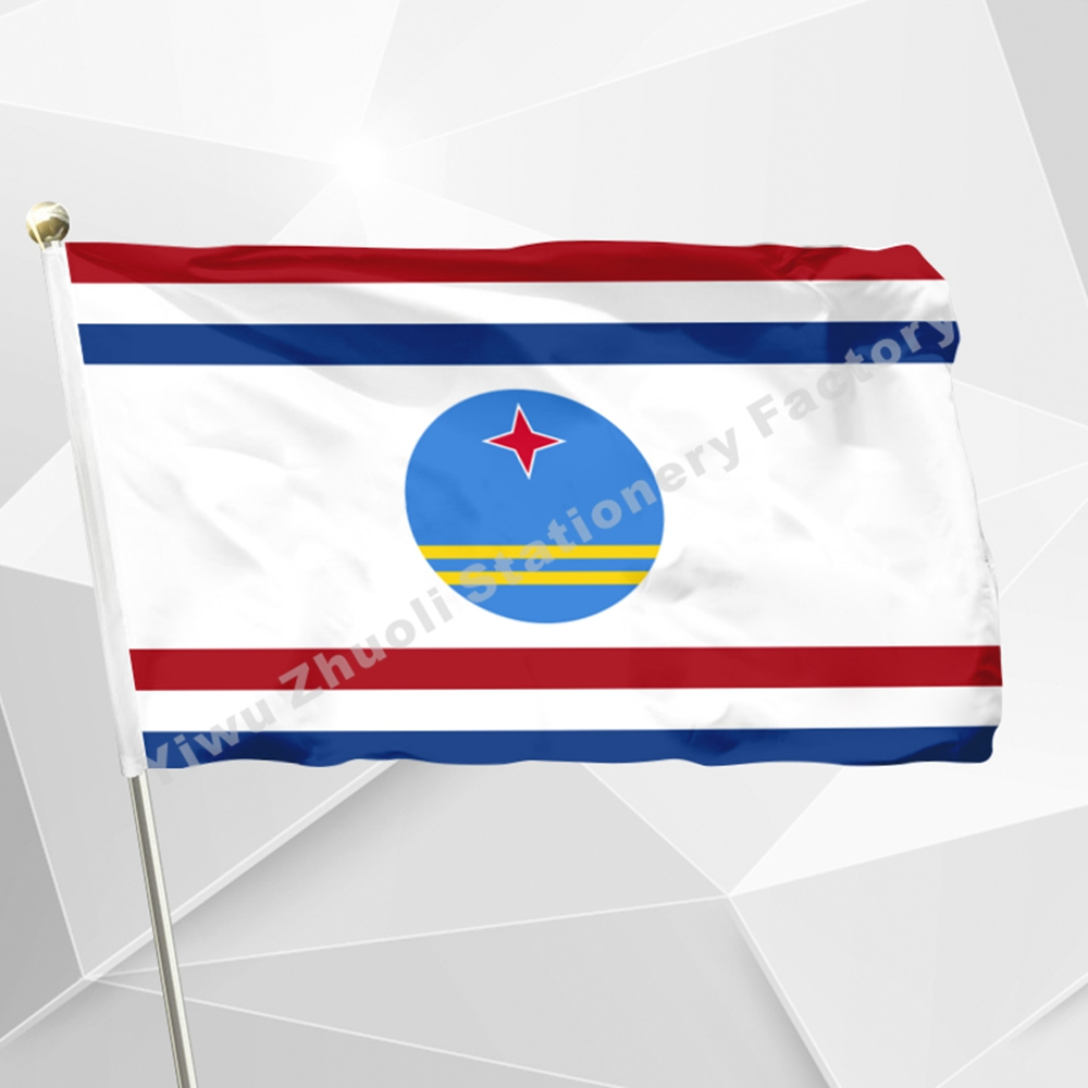 Netherlands Governor Aruba Flag 150X90cm (3x5FT) 120g 100D Polyester Double Stitched High Quality Free Shipping Netherlands