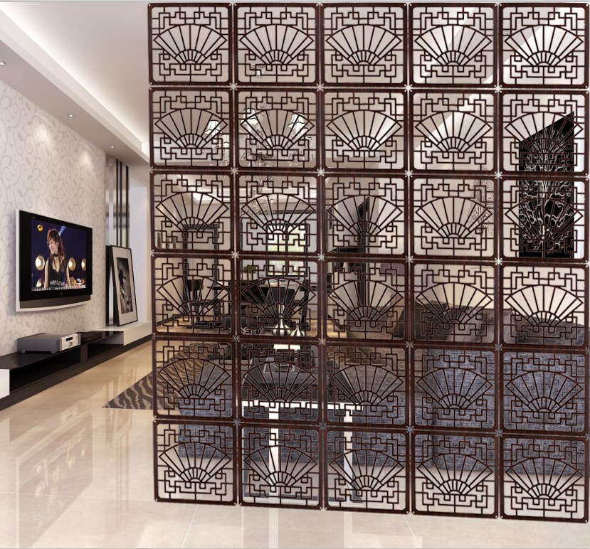 Living Room Wall Panels Divider Classical Imitation Wood Carved Folding Screen Porch Fashion Office Bedroom Hanging In Screens Dividers From