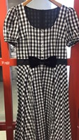 Classic black and white plaid women dress short sleeve with bow waist fit and flare long dresses 0307