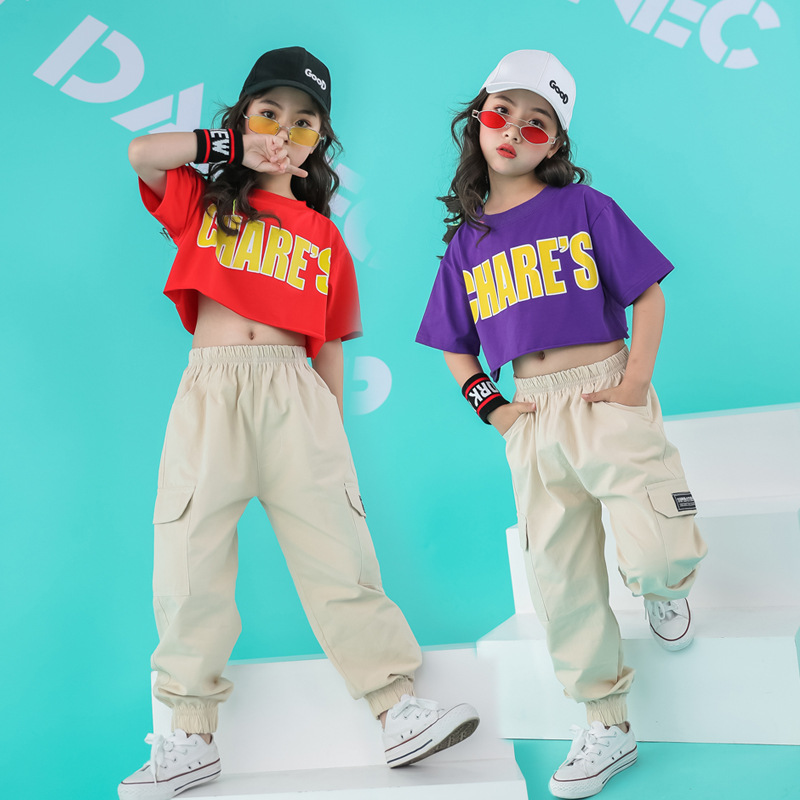 Children Cool Hip Hop Clothing Running Casual Pants Top Crop T Shirt For Girls Jazz Dance Costumes Wear Ballroom Dancing Clothes