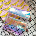 (1Pc/Sell) Best Deal Rectangle Pencil Case New Laser Transparent Color Waterproof PU PVC Leather Storage Cosmetic PencilBags