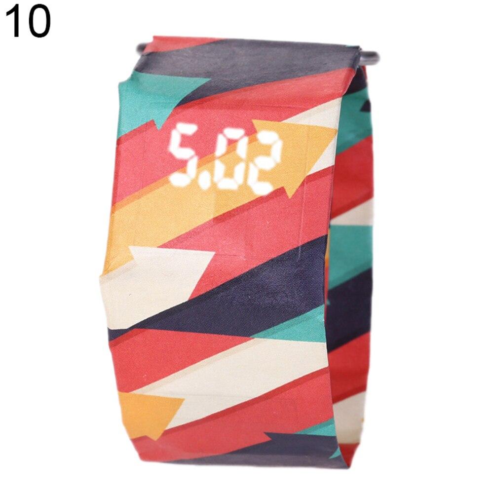 Креативный водонепроницаемый унисекс студенческий светодиодный светильник цифровой дисплей бумажные часы подарок - Цвет: 10