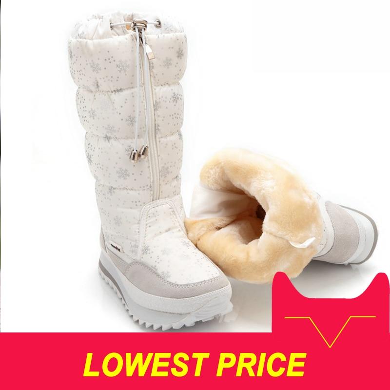 Women boots winter shoes women platform thick plush warm waterproof high snow boots botas mujer size 35-42Women boots winter shoes women platform thick plush warm waterproof high snow boots botas mujer size 35-42