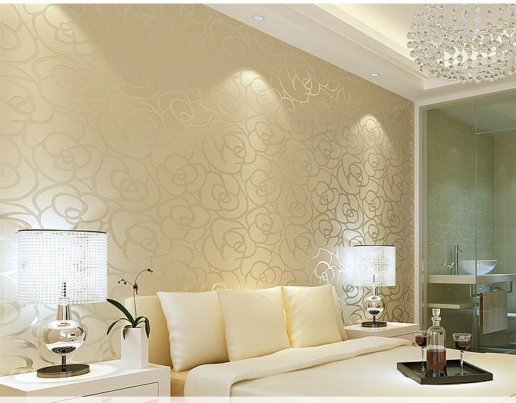 vliestapete beige blumengarten rosa rosen gelb beflockung wohnzimmer dekor schlafzimmer huser dekorateur tv hintergrundchina