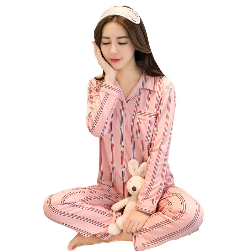 Newset WAVMIT Spring Women Comfortable Cotton   Pajama     Set   Girl Print Pyjama   Set   Long Sleeve Sleepwear Suit Women Nightshirt   Sets