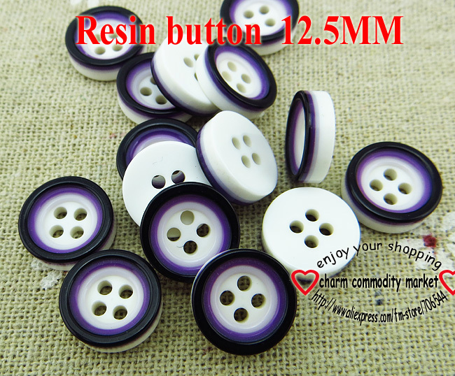 100PCS 12.5MM 4-holes purple round Dyed RESIN buttons coat boots sewing clothes accessories R-175-2