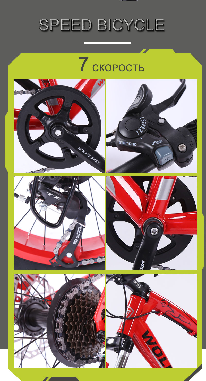 HTB1HjVFd3mH3KVjSZKzq6z2OXXaj Bicycle Mountain bike 7/21 speed Fat Road Snow bikes 20*4.0 Front and Rear Mechanical Disc Brake New Free shipping