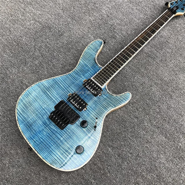 Mayones 6 Strings Electric Guitar Light Blue Quilted Maple Ebony
