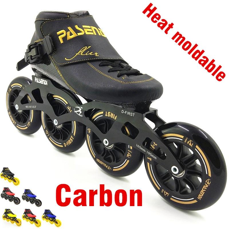 PASENDI Calore modellabile pattinaggio di velocità in linea 4 wheel 110mm 100mm Termoplastico linea rullo scarpe da uomo delle donne professionale rolki da skate