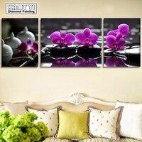 Purple Orchid Icon 5D DIY Diamond Painting Full Diamond Embroidery Cross Stitch Rhinestone Mosaic Painting Decor
