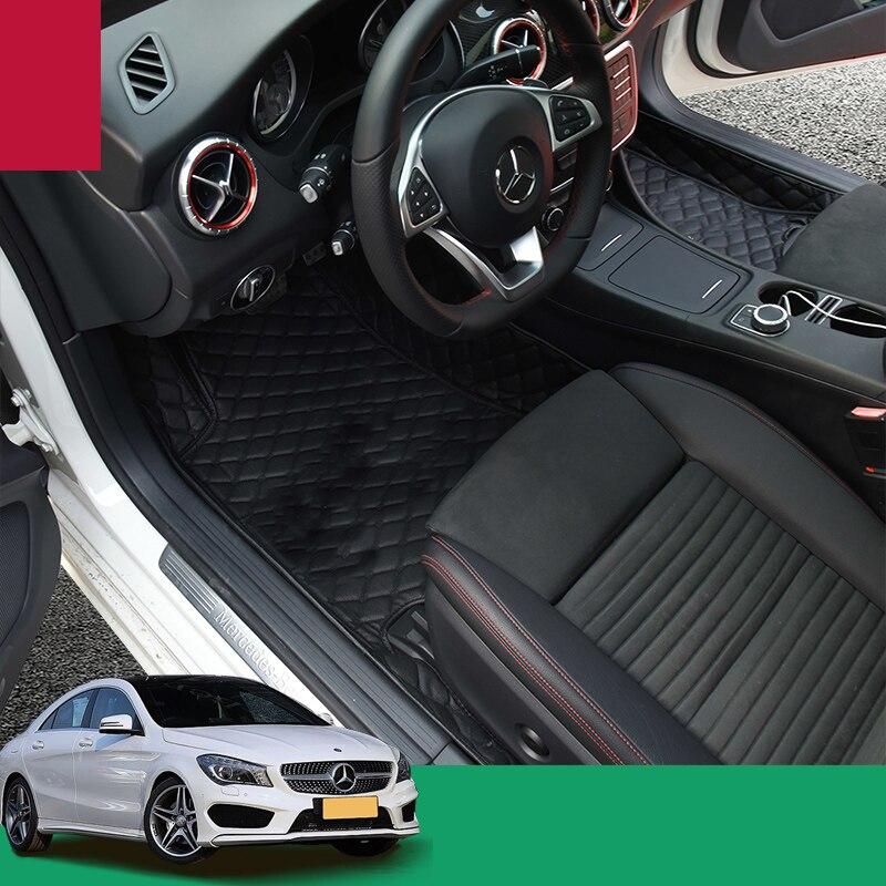 car styling fiber leather car floor interior mat for mercedes benz cla180 cla200 cla260 cla45 amg cla220 2013-2018 yandex w205 amg style carbon fiber rear spoiler for benz w205 c200 c250 c300 c350 4door 2015 2016 2017