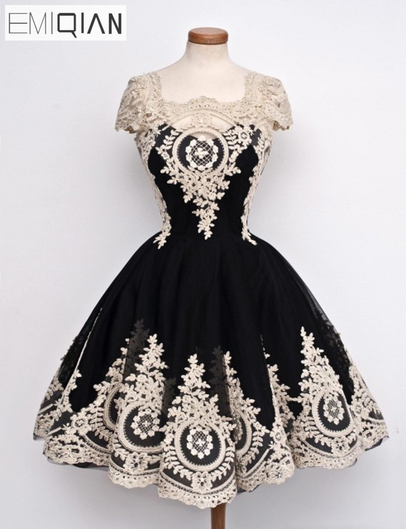 Robe de   cocktail   New Arrival Real Images Elegant Cap Sleeves Lace Ball Gown   Cocktail     Dresses