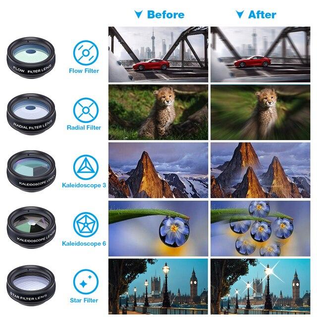 APEXEL 10 in 1  Mobile phone Lens Telephoto Fisheye lens Wide Angle Macro Lens+CPL/Flow/Radial/Star Filter for all smartphones 2