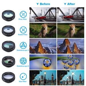 Image 3 - APEXEL 10 w 1 obiektyw telefonu komórkowego teleobiektyw obiektyw typu rybie oko szerokokątny obiektyw makro + CPL/Flow/Radial/filtr gwiezdny dla wszystkich smartfonów
