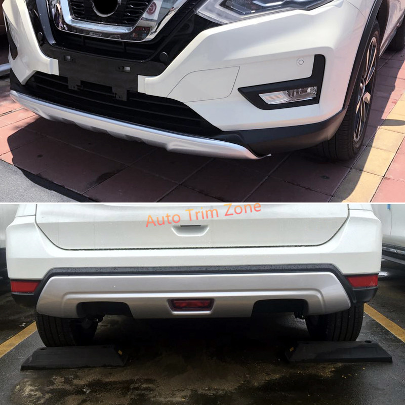 ABS Front&Rear 2PCS Bumper Skid Plate Fender Shield for Nissan Rogue X-trail 2017 set j40 black steel different trail front bumper w winch plate