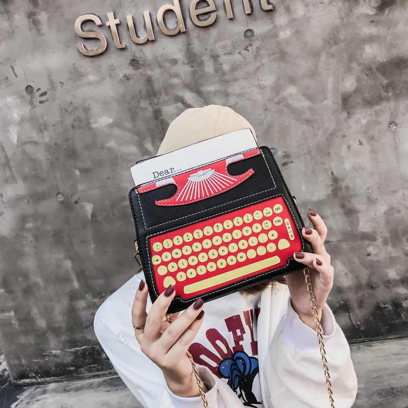 การ์ตูนตลกเครื่องพิมพ์ดีดออกแบบ PU หนังผู้หญิงลำลองไหล่กระเป๋า Totem Femal Crossbody Mini Messenger กระเป๋า FLAP