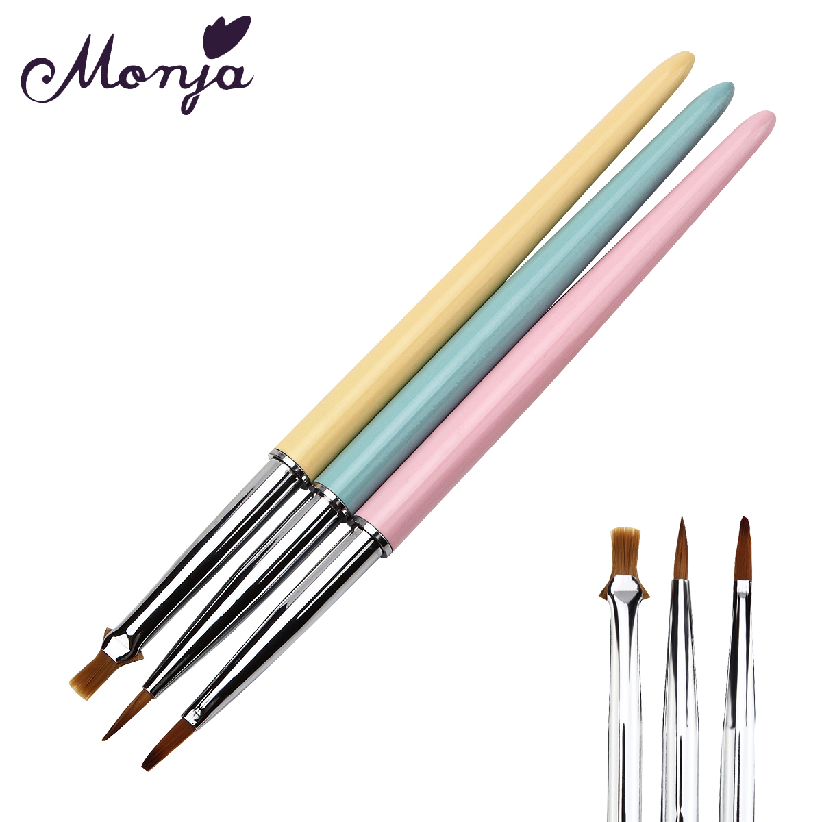 Online coloring with paint brush - 3 Style Set Nail Art Painting Brush Multipurpose Gel Polish Tips 3d Diy Design Drawing Coloring Dotting Pen Manicure Brushes Kit