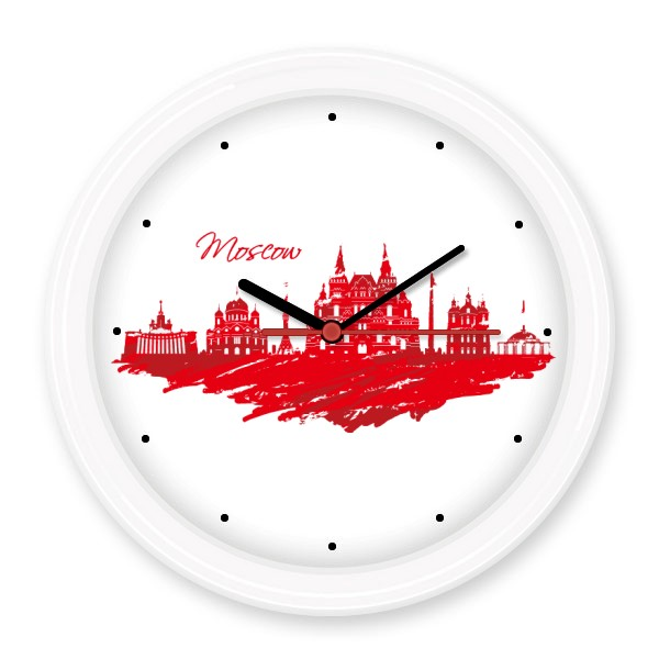 Moscow Landmark Red Cathedral Pattern Illustration Silent Non-ticking Round Wall Decorative Clock Decal Decal Wedding Decoration