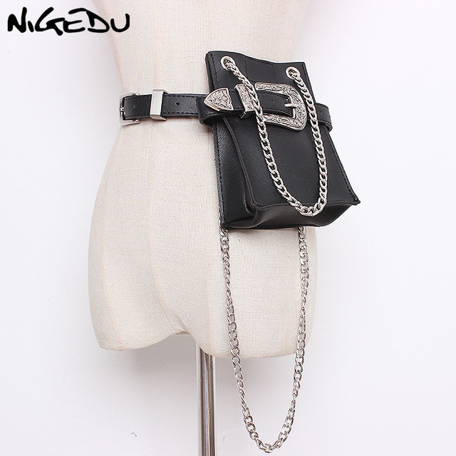 Multifunction women Waist Pack Luxury brand design Serpentine Fanny Pack Chain messenger bags woman mini Carved belt bag phone