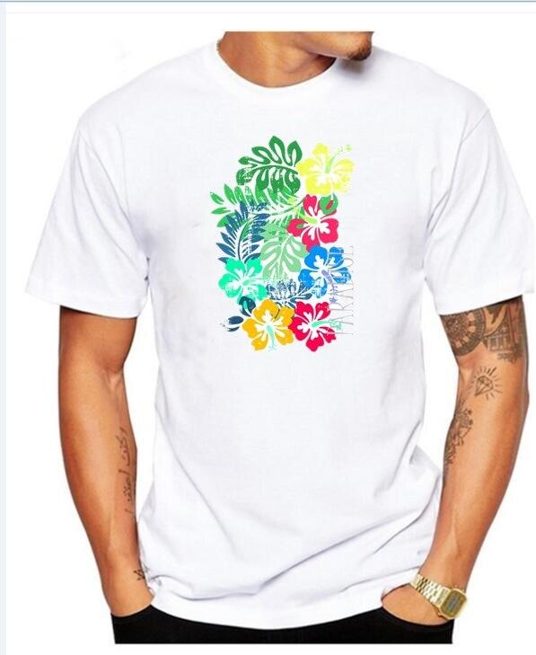 2018 Tropical Paradise Neck Short-Sleeve Summer Mens Tiki face - island Tee Shirt