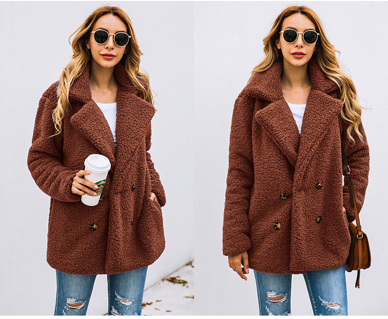 HTB1HjWBboT1gK0jSZFhq6yAtVXaS Lossky Women Long Sleeve Autumn Winter Thick Warm Jacket Coats Plus Size Loose Button Pocket Pink Lady Plush Flannel Overcoat