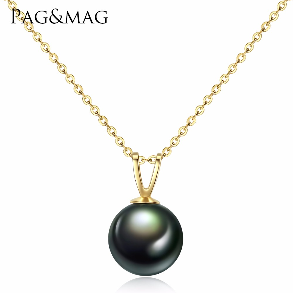 PAG&MAG Natural Tahiti Black Pearl Pendent Necklaces for Women Genuine 18K Gold Chain Necklace Fine Jewelry Valentine's Day Gift yoursfs 18k rose white gold plated letter best mum heart necklace chain best mother s day gift