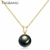 PAG&MAG Natural Tahiti Black Pearl Pendent Necklaces for Women Genuine 18K Gold Chain Necklace Fine Jewelry Valentine's Day Gift