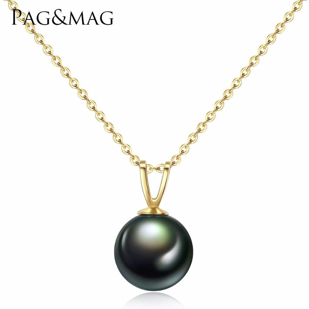 PAG et MAG Naturel Tahiti Black Pearl Pendentif Colliers pour Femmes Véritable 18 k Or Chaîne Collier Fine Jewelry Valentine jour de Cadeau
