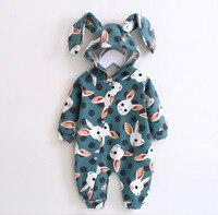 Cute Baby Romper Autumn Winter Newbron Boy Girl Jumpsuit Animal Rabbit Ear Style Baby Hooded Cartoon