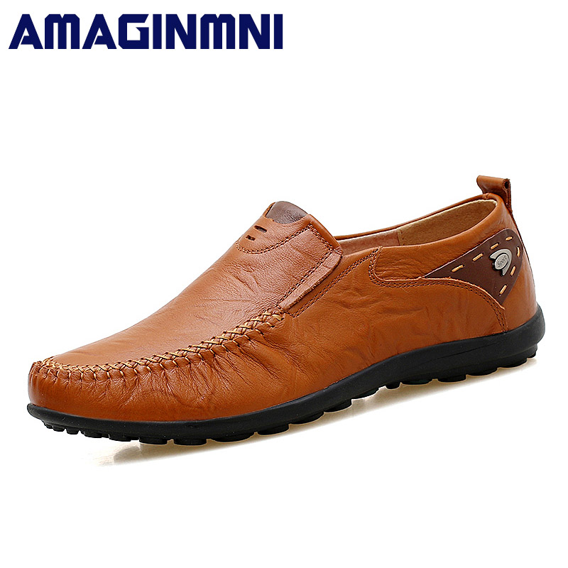 AMAGINMNI Big Size High Quality Genuine Leather Men Shoes Soft Moccasins Loafers Fashion Brand Men Flats Comfy Driving Shoes cbjsho brand men shoes 2017 new genuine leather moccasins comfortable men loafers luxury men s flats men casual shoes