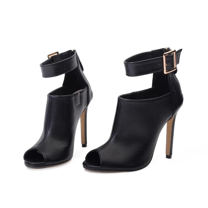 Zapatos Sandalias Peep Correa Toe Negro 11 Nocturno 2018 Dama Bombas Scarpins Cuero 5 Extremo Tacones Mujeres Verano Cm Altos Moda Club Femenina De UxASa8
