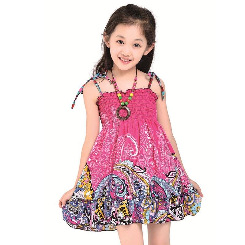 2017 Nieuwe zomer stijl meisjes kleding Mode knielange strand jurken - Kinderkleding