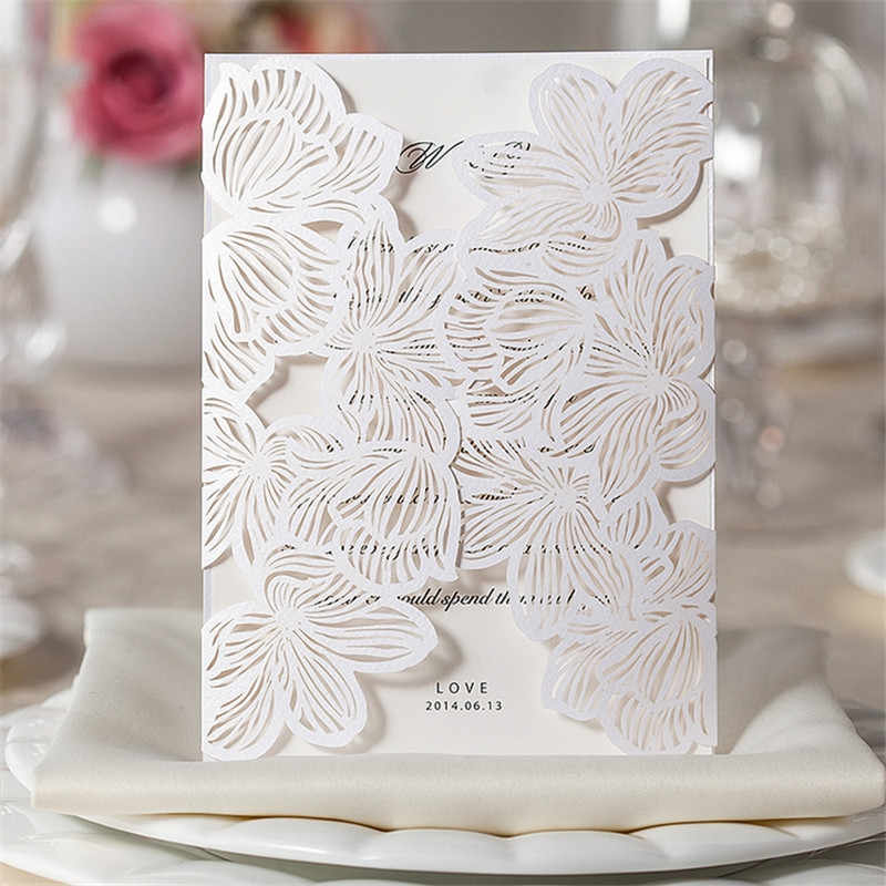10pcs Laser Cut Design Wedding Invitations Elegant Pattern Vintage Wedding Invitations Card Kit Blank Paper Flower Invitation 5z