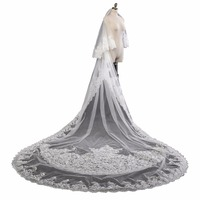 ZYLLGF 3.5M Long Cathedral Wedding Veils Lace Appliques Tulle White Bridal Veils Voile De Mariee Mariage Accessoire BL13