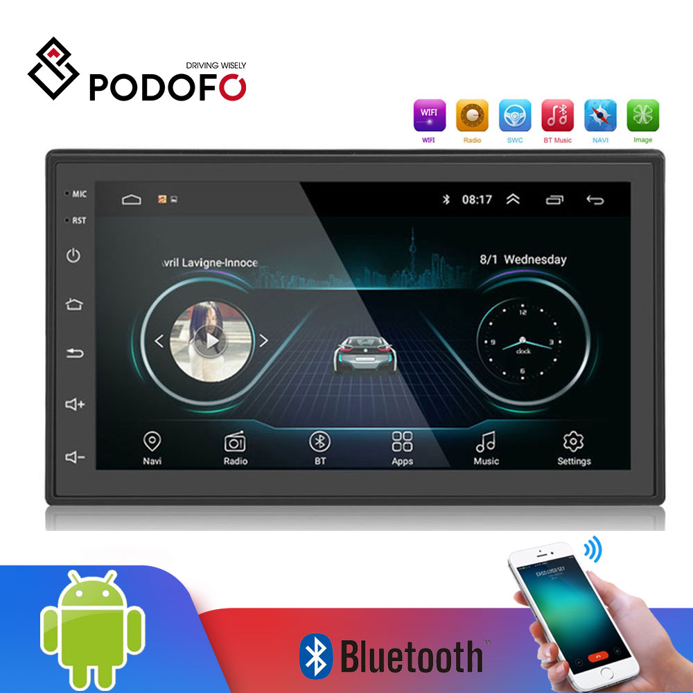 2din Android Car Radio player multimídia Autoradio Podofo 2 Din 7 ''GPS WIFI Bluetooth FM tela de Toque de áudio auto stereo jogador