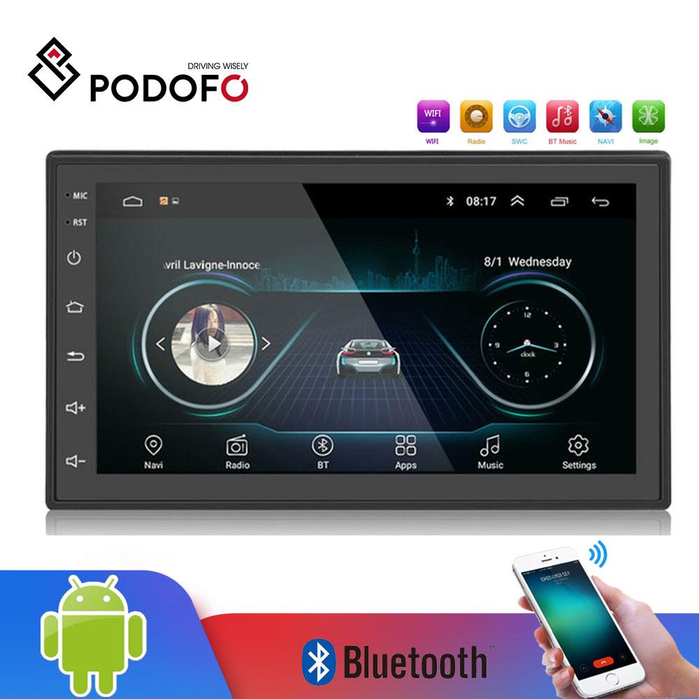 Podofo 2din Android автомобильный Радио мультимедийный плеер авторадио 2 Din 7 ''gps wifi Bluetooth FM сенсорный экран Авто Аудио плеер стерео