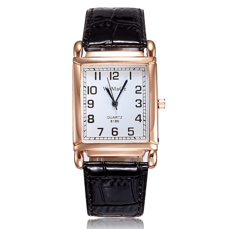 2019 New Fashion Women Watch Red Leather Strap Casual Watch Wrist Square Dial Rose Gold Case Lady Watches Wristwatch Clock Gift