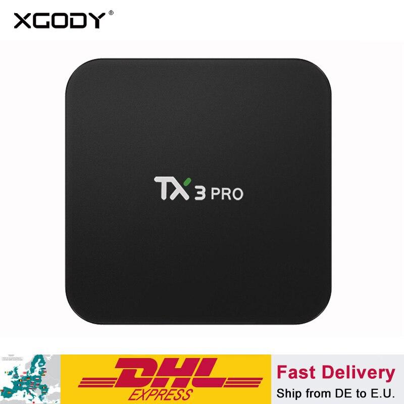 XGODY TX3 Pro Smart TV Box 1 + 8 gb Android 7.1 Quad Core Amlogic S905W 17.1 Entièrement Chargé Médias lecteur Wifi HD 4 k IPTV Set-top Box