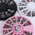 1 Box Colorful Metal Studs 3D Nail Decoration 3mm Round Rhinestone Manicure Nail Art Decoration