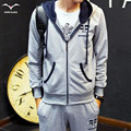 Spring Men's Baseball  Suit Sweatshirts Letter Printed  Patchwork Sleeve Men Hoodies Male Outwear Tracksuit + Pants 2XL
