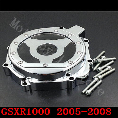Fit for Suzuki GSXR1000 GSX-R 1000 2005 2006 2007 2008 GSXR Motorcycle Engine Stator cover see through Chrome Left side K5 K7 aftermarket free shipping motorcycle part engine stator cover for suzuki gsxr600 750 2006 2007 2008 2009 2013 black left side