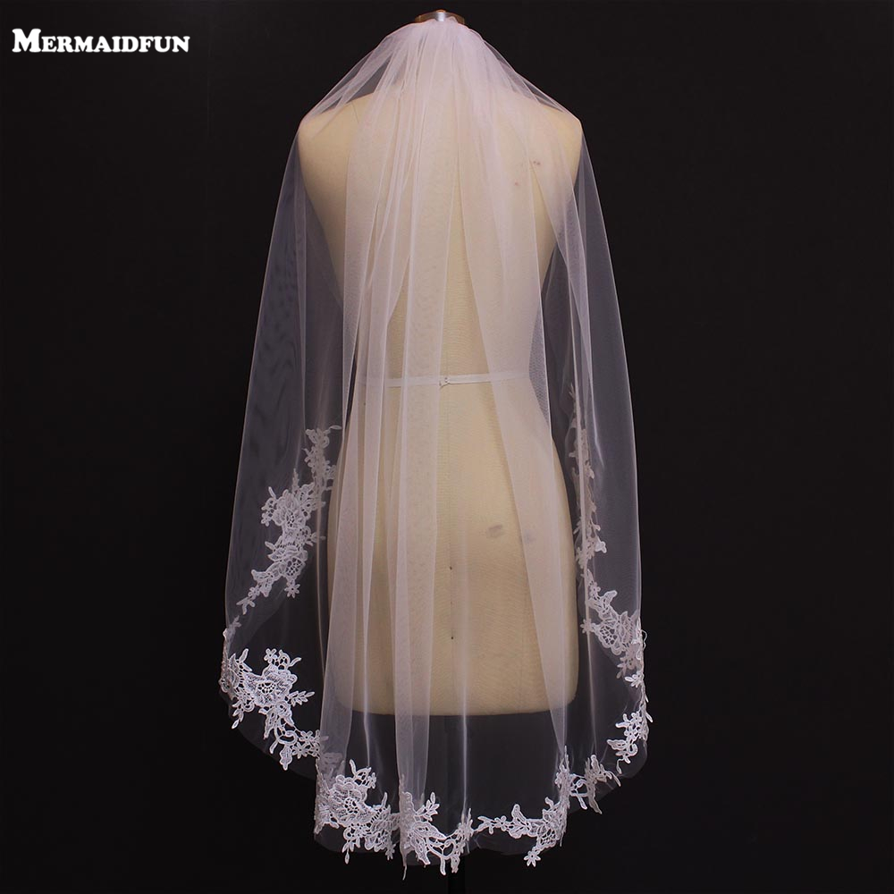 Bridal Veils Short Lace Appliques Ivory White One-Layer New Real Photos