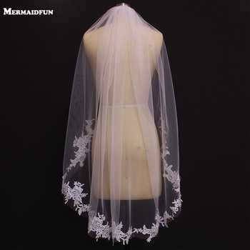 2019 Real Photos One Layer Lace Appliques Short Wedding Veils New White Ivory Bridal Veils - DISCOUNT ITEM  5% OFF All Category