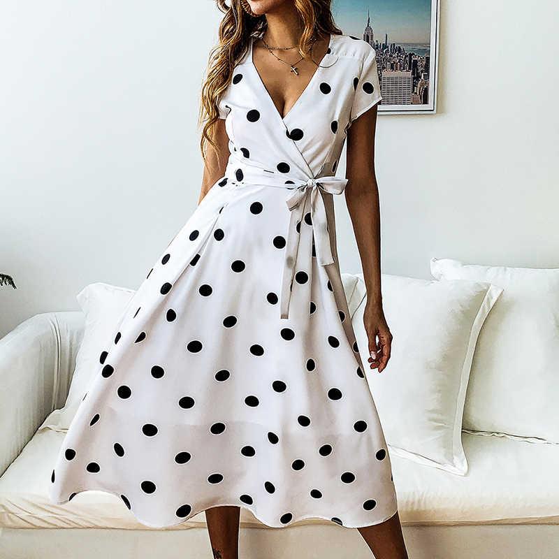 Летнее женское платье 2019 винтажное сексуальное богемное пляжное платье в горошек Красное Белое Кружевное платье с v-образным вырезом Женский Бренд 800007